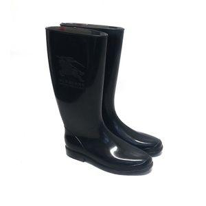 BURBERRY Womens Black Logo Rain Boots 11 / 41